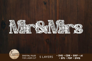 MR & MRS Laser Cut Wedding Cut Letters Graphic 3D SVG By LaserCutano