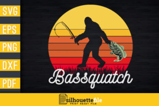 Print on Demand: Retro Bassquatch Bigfoot Fishing Graphic Print Templates By Silhouettefile