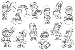 Print on Demand: St Patrick's Day Trolls Digital Stamps Graphic Illustrations By Keepinitkawaiidesign