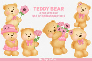 Teddy Bear with Anemone Flower Clipart. Graphic Illustrations By nattapohncha