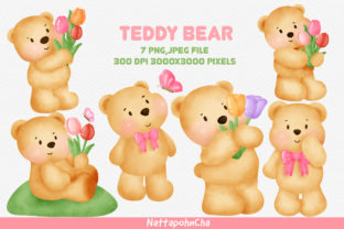 Teddy Bear with Tulips Clipart Bundle. Graphic Illustrations By nattapohncha