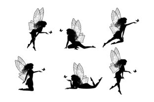 Print on Demand: Cute Fairy Silhouette Collection Graphic Illustrations By curutdesign