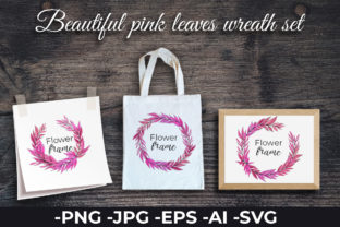 Print on Demand: Beautiful Pink Leaves Wreath Set Graphic Illustrations By AzrielMch