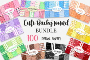 Print on Demand: Bundle Cute Background Digital Papers Graphic Backgrounds By PinkPearly