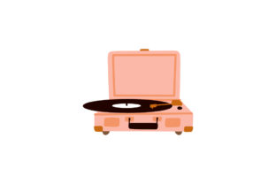 Print on Demand: Cute Record Player with Vinyl Disc Icon Graphic Illustrations By Musbila