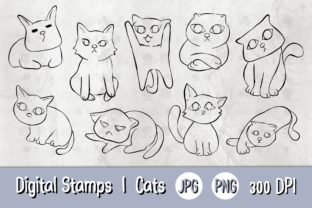 Print on Demand: Digital Stamp | Cats 01 Bw Graphic Illustrations By 18CC