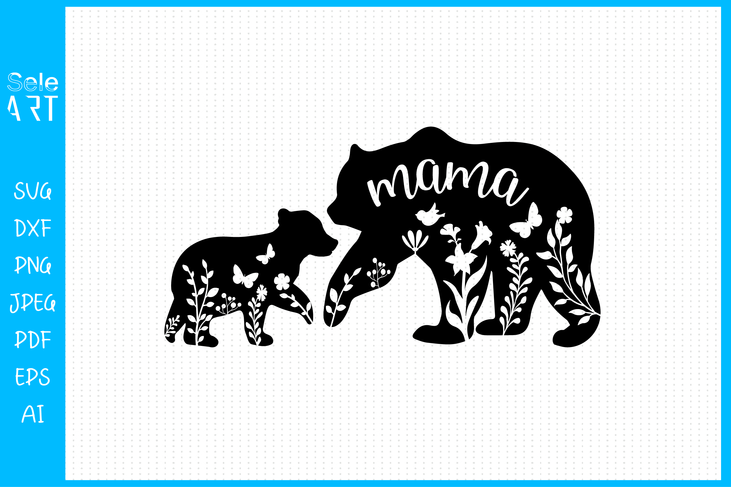 Floral Mama Bear and Baby SVG SVG File