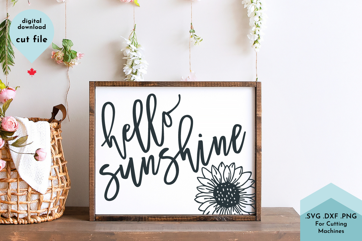Hello Sunshine with Sunflower Vector Cut SVG File