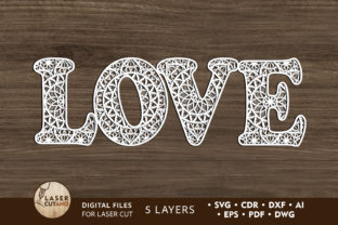 Multilayer Word LOVE File for Laser Cut Graphic 3D SVG By LaserCutano