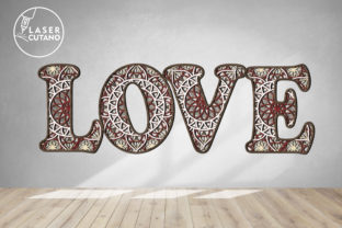 Print on Demand: Multilayer Word LOVE File for Laser Cut Graphic 3D SVG By LaserCutano 2