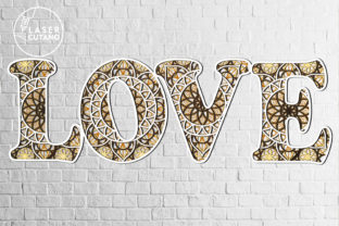 Print on Demand: Multilayer Word LOVE File for Laser Cut Graphic 3D SVG By LaserCutano 3