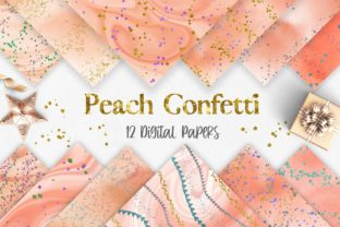 Print on Demand: Peach Watercolor Confetti Glitter Graphic Backgrounds By PinkPearly