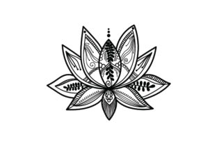 Intricate Lotus Flower Designs & Zeichnungen Plotterdatei von Creative Fabrica Crafts