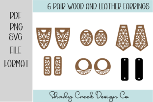 5 Pair Wood and Leather Earrings Graphic 3D SVG By Shady Creek Design Company