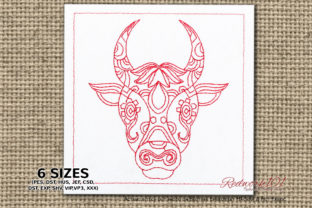 Abstract Bull Head Taurus Symbol Redwork Religion & Faith Embroidery Design By Redwork101
