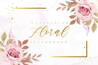 Print on Demand: Beautiful Watercolor Floral Background Graphic Backgrounds By Dzyneestudio