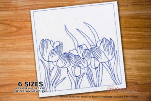 Bunch of Tulip Flowers Blooming Redwork Bouquets & Bunches Embroidery Design By Redwork101