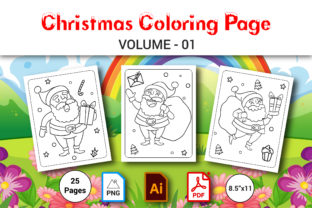 Christmas Coloring Book for Kids Vol.1 Graphic Coloring Pages & Books Kids By MRcolor Graph