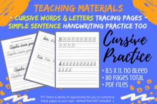 Print on Demand: Cursive Letters Words Sentence Practice Graphic 3rd grade By Tomboy Designs