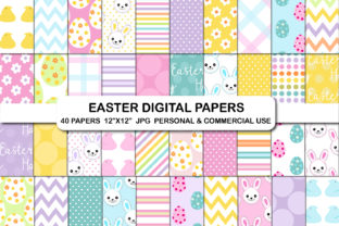 Easter Bunny Paper Egg Hunt Papers Set Graphic Backgrounds By bestgraphicsonline