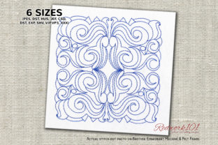 Floral Pattern Tiles Redwork Intricate Cuts Embroidery Design By Redwork101