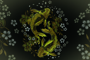 Print on Demand: Golden Fish Fish & Shells Embroidery Design By Samsul Huda