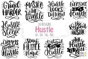 Print on Demand: Hustle Quotes Bundle Graphic Crafts By dapiyupi