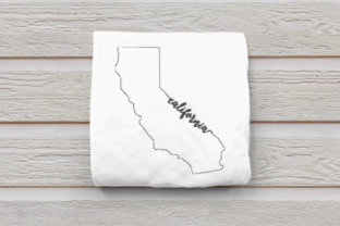 Linework State of California North America Embroidery Design By DesignedByGeeks