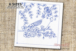 Parrot Sitting on a Floral Branch Birds Embroidery Design By Redwork101