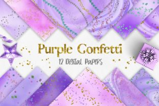 Print on Demand: Purple Watercolor Confetti Glitter Graphic Backgrounds By PinkPearly