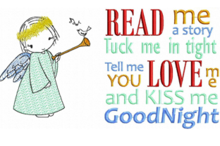 Read Me a Story & Angel Babies & Kids Quotes Embroidery Design By EmbDesigns