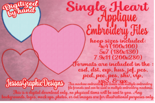 Print on Demand: Single Heart Applique Valentine's Day Embroidery Design By JessasGraphicDesgins