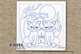 Sitting Twin Cats Cats Embroidery Design By Redwork101 1