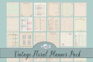 Print on Demand: Vintage Floral Planner Pack Graphic KDP Interiors By CapeAirForce