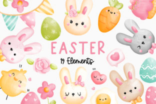 Print on Demand: Watercolor Easter Bunny Clipart Graphic Illustrations By Chonnieartwork