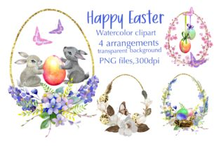 Print on Demand: Watercolor Easter Arangaments,Cards Graphic Illustrations By Marine Universe