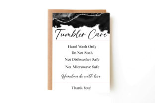 Tumbler Care Card, Print and Cut Graphic Illustrations By Aneta Design