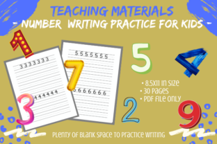 Print on Demand: 30 Pages of Kids Number Writing Practice Graphic PreK By Tomboy Designs