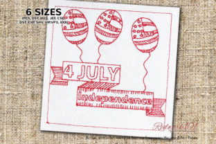 4th July American Balloons Redwork Independence Day Embroidery Design By Redwork101