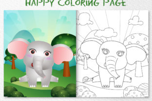 A Cute Elephant Animal 7 - Coloring Page Graphic Coloring Pages & Books Kids By wijayariko