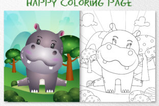 A Cute Hippo Animal 4 - Coloring Page Graphic Coloring Pages & Books Kids By wijayariko