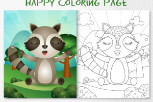 A Cute Raccoon Animal 6 - Coloring Page Graphic Coloring Pages & Books Kids By wijayariko
