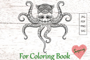 Abstract Octopus for Adult Coloring Book Graphic Coloring Pages & Books Adults By somjaicindy