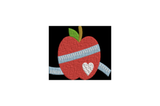 Apple with Measuring Tape Wellness Embroidery Design By Wingsical Whims Designs