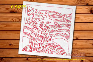 Bald Eagle in Front of an American Flag Independence Day Embroidery Design By Redwork101
