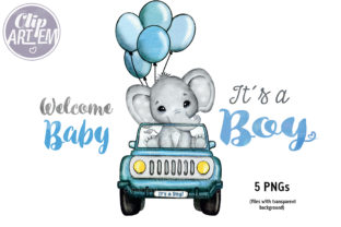 Print on Demand: Boy Elephant in Car PNG Clip Art Images Graphic Illustrations By clipArtem