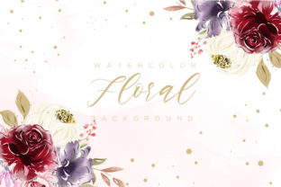 Print on Demand: Burgundy Watercolor Floral Background Graphic Backgrounds By Dzyneestudio