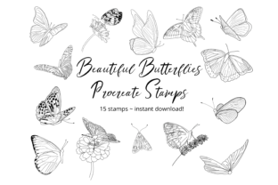 Butterflies Procreate Stamp Brushes Graphic Brushes By Mini Trezò Design