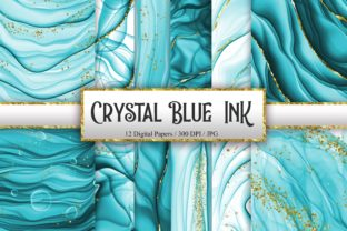Print on Demand: Crystal Blue Ink Glitter Digital Papers Graphic Backgrounds By PinkPearly
