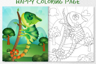 Cute Chameleon Animal 2 - Coloring Page Graphic Coloring Pages & Books Kids By wijayariko